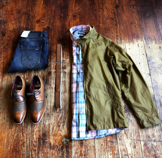 Barbour Wax Sand Jacket & Jeans barbour-ender-wax-royal-navy-cotton-jacket / blend-twister-dark-wash-slim-fit-jeans / barbour-sandwood-pink-cotton-check-shirt