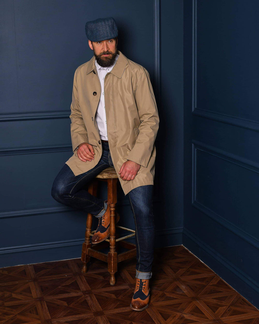 Beige Mac Casual Outfit harry-brown-stone-mac / marc-darcy-white-pin-collar-shirt-with-collar-bar / london-brogues-gatsby-tan-navy-leather-hi-brogue-boot