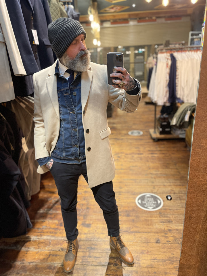 Beige Overcoat & Denim Jacket Look skopes-fairlop-oatmeal-overcoat / blend-dark-wash-denim-jacket / skopes-plain-white-tailored-fit-shirt