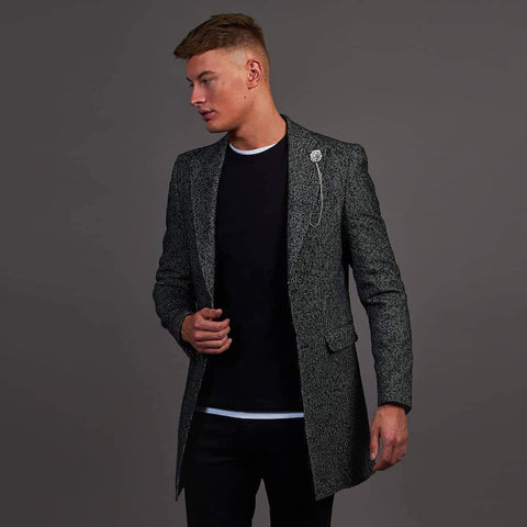 Black And White Herringbone Tweed Style Coat 36 / Black