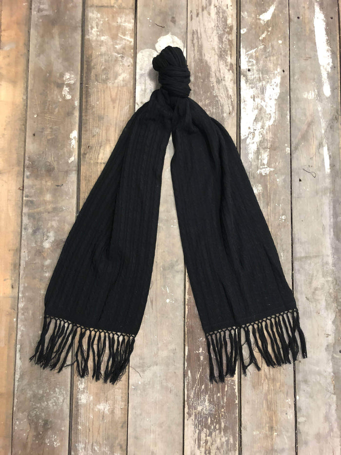 Black Knitted Lambswool Scarf