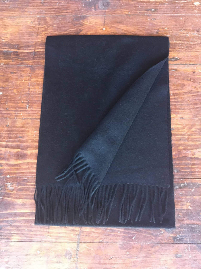 Black pure lambswool scarf