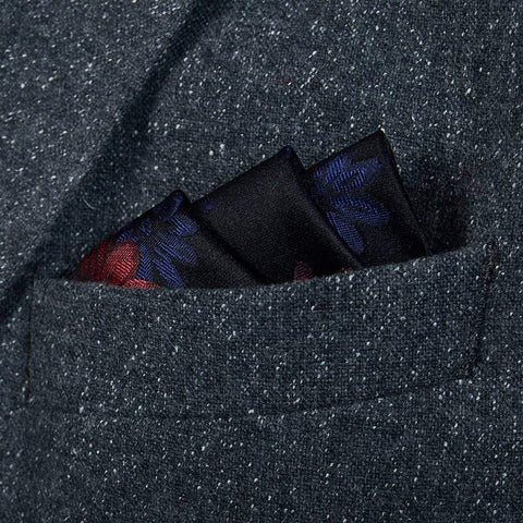Black/Red/Navy Floral Silk Pocket Square