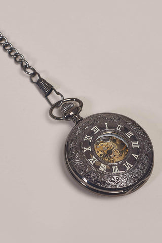 Black Steel Effect Half Hunter Skeleton Pocket Watch