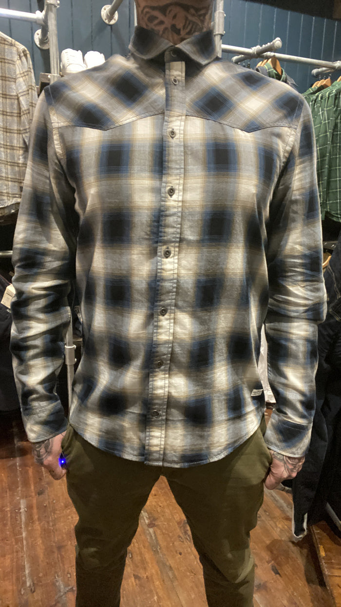 Blend Blue & Tan Check Cotton Shirt