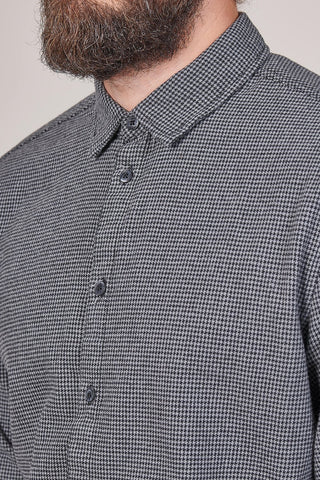 Blend Cotton Houndstooth Shirt In Dark Grey