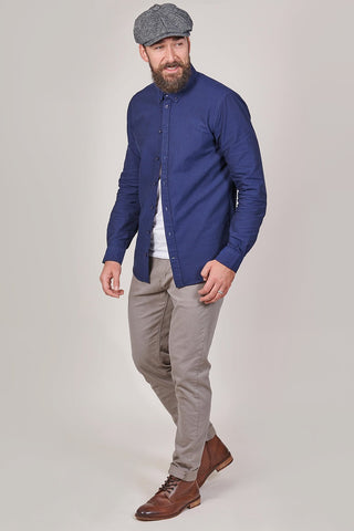 Blend Blend Cotton Oxford Shirt In Navy £19.59