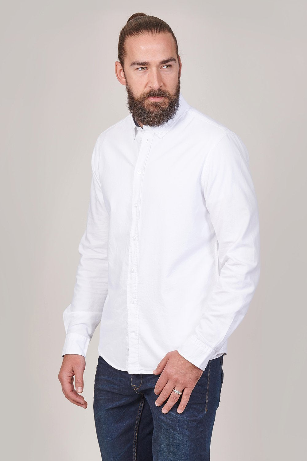 Blend Cotton Oxford Shirt In White