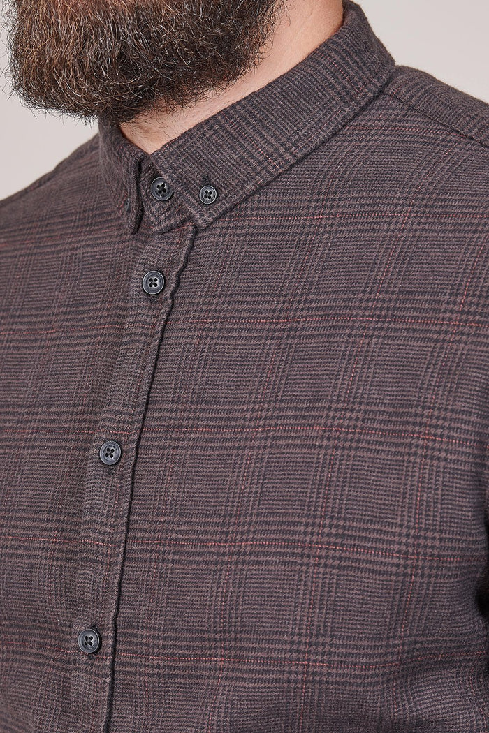 Blend Blend Cotton Prince Of Wales Check Shirt In Dark Brown £17.50