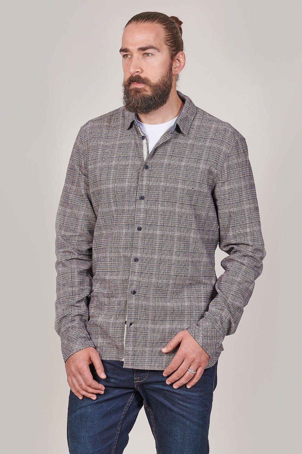 Blend Blend Cotton Prince Of Wales Check Shirt In Light Brown £34.99