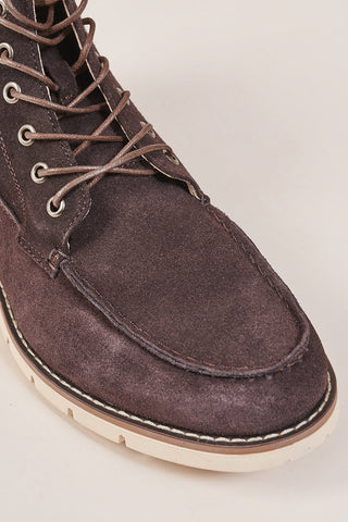 Blend Dark Brown Moc Toe Suede Boots