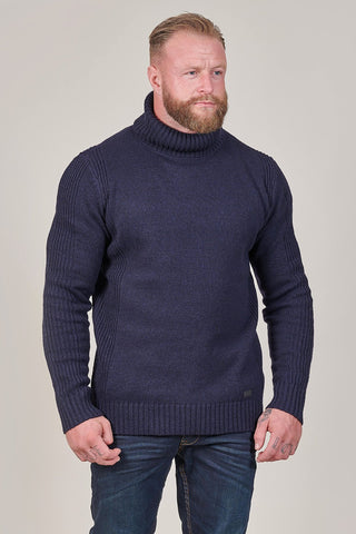 Blend Lambswool Roll Neck Jumper In Navy