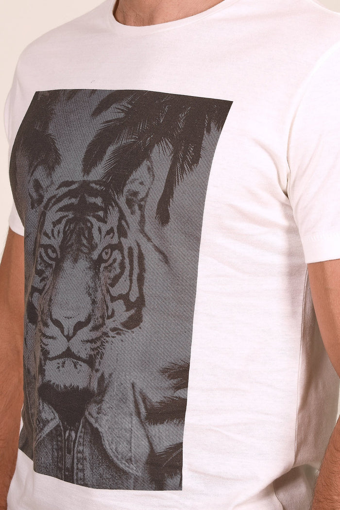 Blend White Cotton Tiger Print T-Shirt