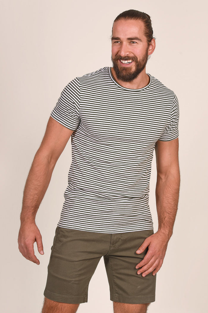 Blend White & Green Stripe Cotton T-Shirt