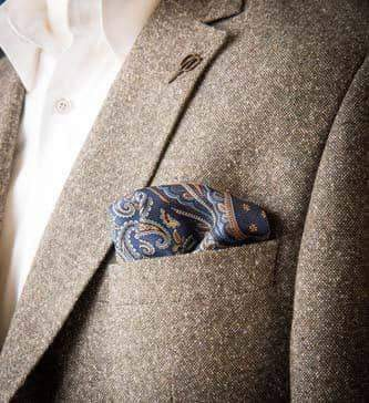 Blue and gold Paisley silk Pocket Square