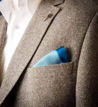 Master Debonair Blue and white stars silk Pocket Square £20.00