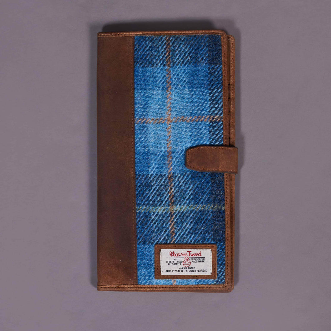 Blue Check Harris Tweed Travel Wallet