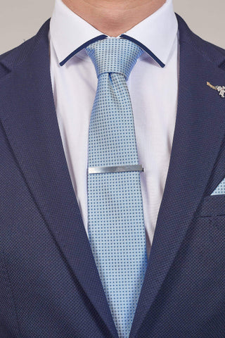 Blue Spotted Tie, Pocket Square, Tie Clip & Cuff link Set Blue