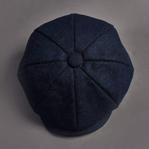 Boys Navy Herringbone Tweed Newsboy 8 Piece Hat One Size