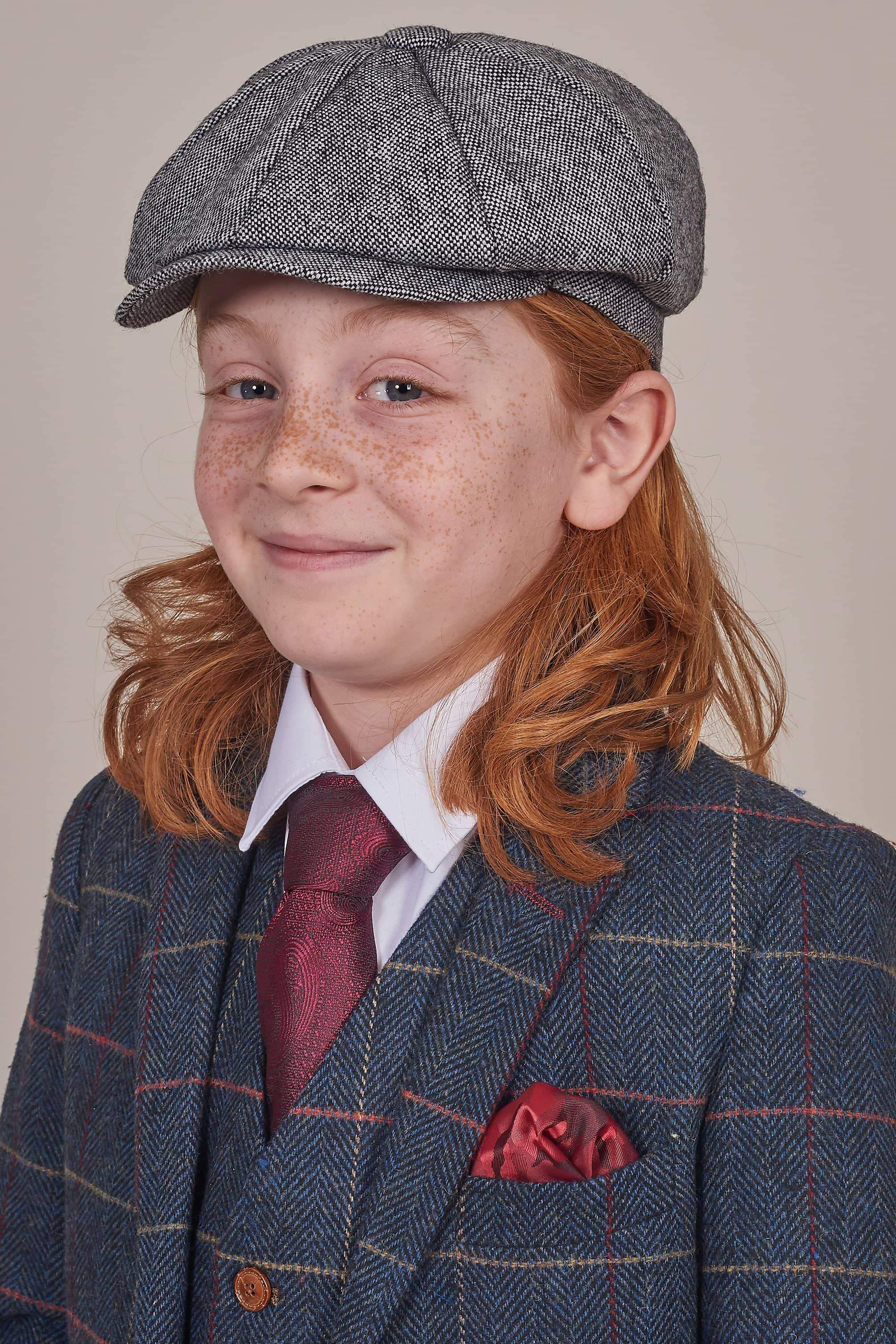 8f47ca44f Boys Salt & Pepper Tweed Newsboy 8 Piece Hat - £20.00 - Master Debonair
