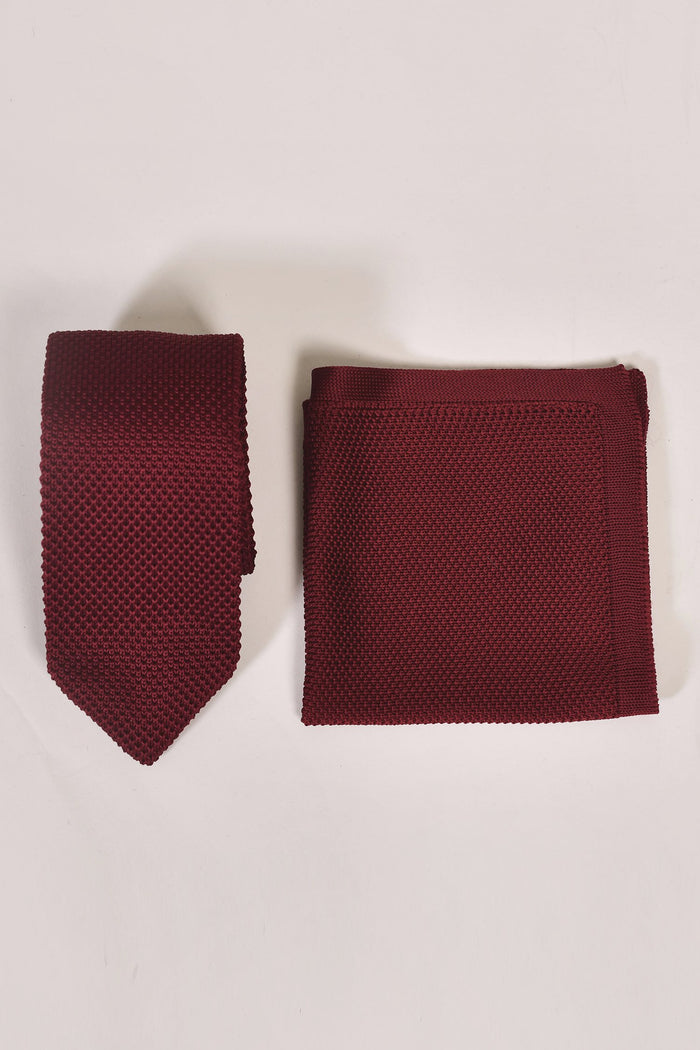 Broni&Bo Burgundy Knitted Tie & Pocket Square Set