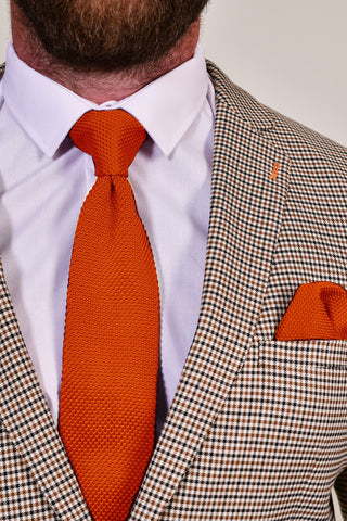 Broni&Bo Burnt Orange Knitted Tie & Pocket Square Set