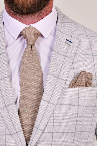 Broni&Bo Champagne Knitted Tie & Pocket Square Set