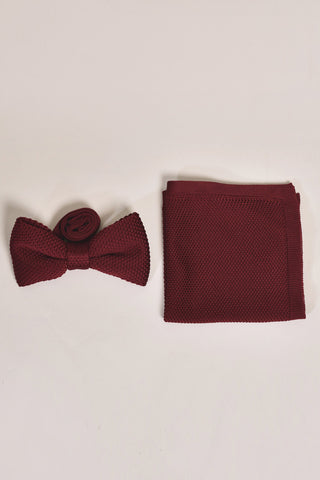 Broni&Bo Children's Burgundy Knitted Bow Tie & Pocket Square Set