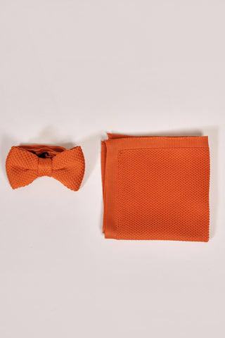 Broni&Bo Children's Burnt Orange Knitted Bow Tie & Pocket Square Set