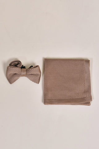 Broni&Bo Children's Champagne Knitted Bow Tie & Pocket Square Set
