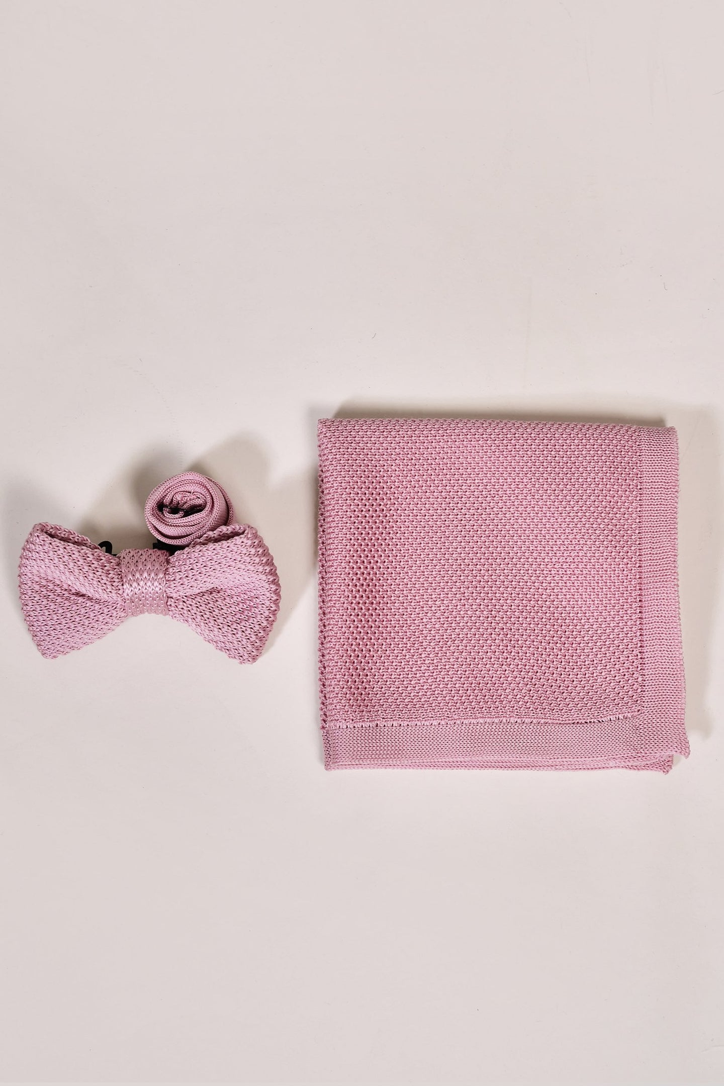 Broni&Bo Children's Dusty Pink Knitted Bow Tie & Pocket Square Set