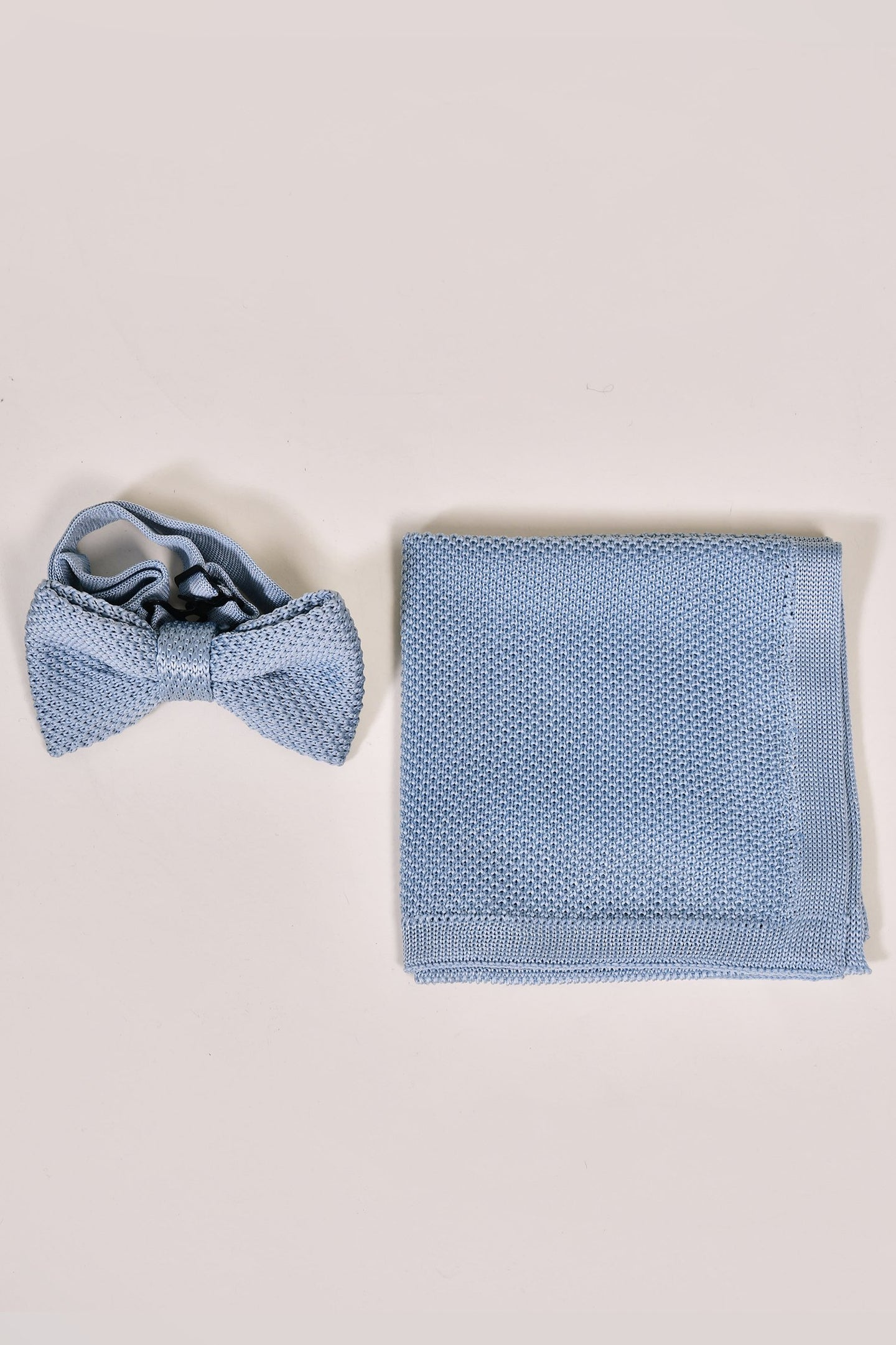 Broni&Bo Children's Misty Blue Knitted Bow Tie & Pocket Square Set
