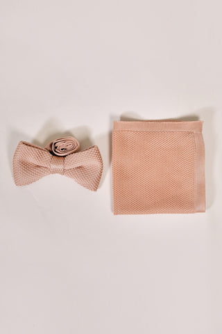 Broni&Bo Children's Rose Quartz Knitted Bow Tie & Pocket Square Set
