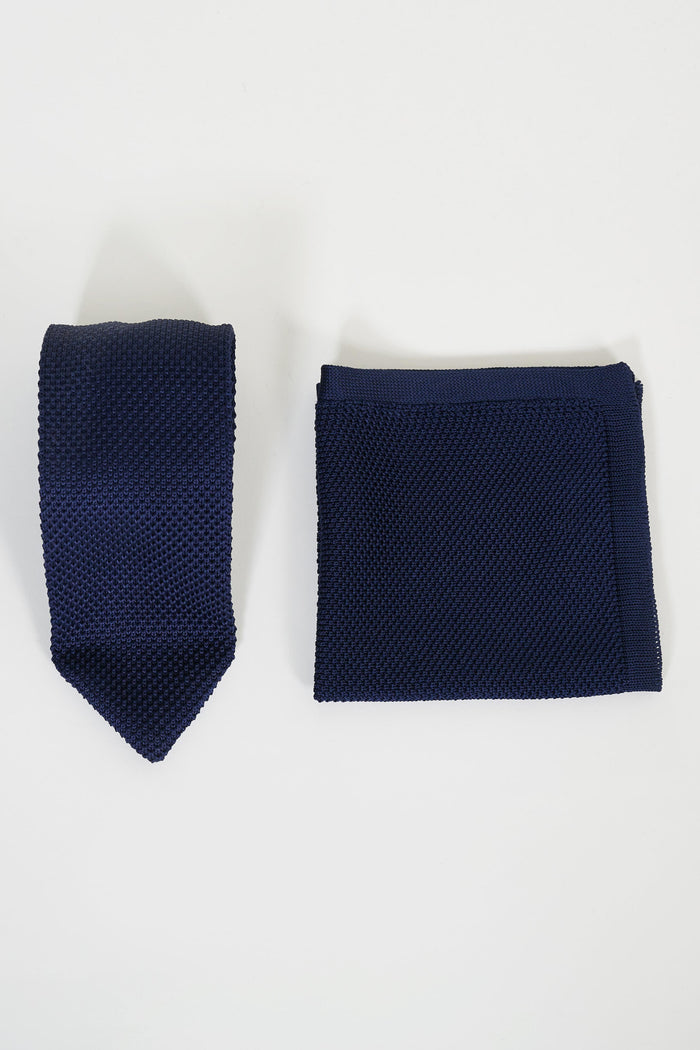 Broni&Bo Navy Knitted Tie & Pocket Square Set