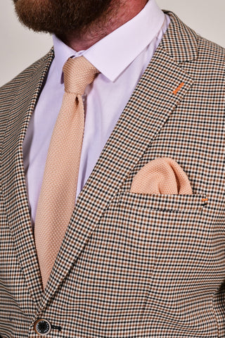 Broni&Bo Rose Quartz Knitted Tie & Pocket Square Set