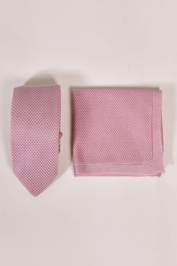 Broni&BoDusty Pink Knitted Tie & Pocket Square Set