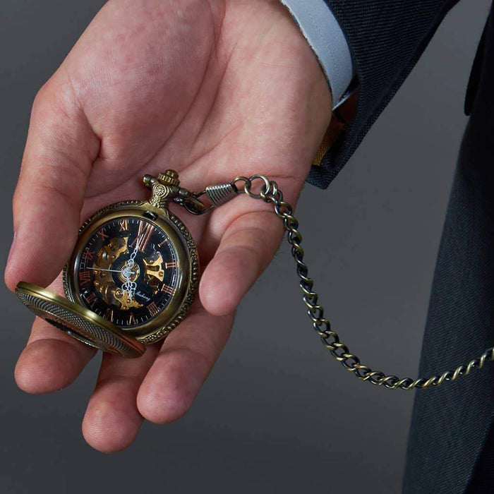Bronze Roman Numerals Pocket Watch