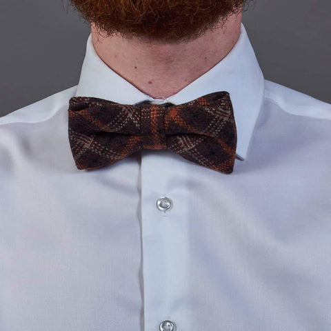 Brown Check Tweed Bow Tie