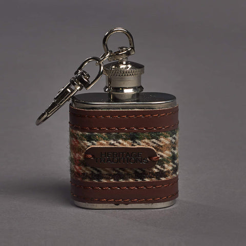 Brown Houndstooth Tweed 1oz Hipflask Key ring