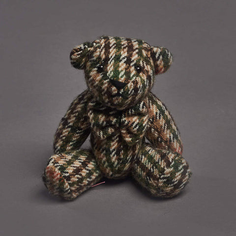 Brown Houndstooth Tweed Bear Key Ring