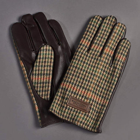 Brown Houndstooth Tweed Gloves