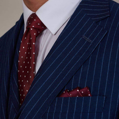 Burgundy And White Spots Woven Silk Tie Burgundy