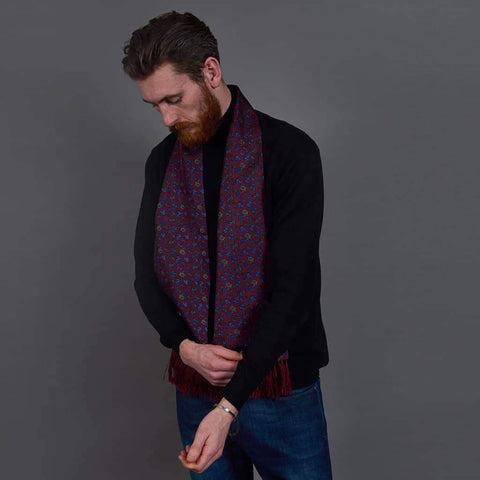 Burgundy/Blue Paisley Silk Aviator Scarf