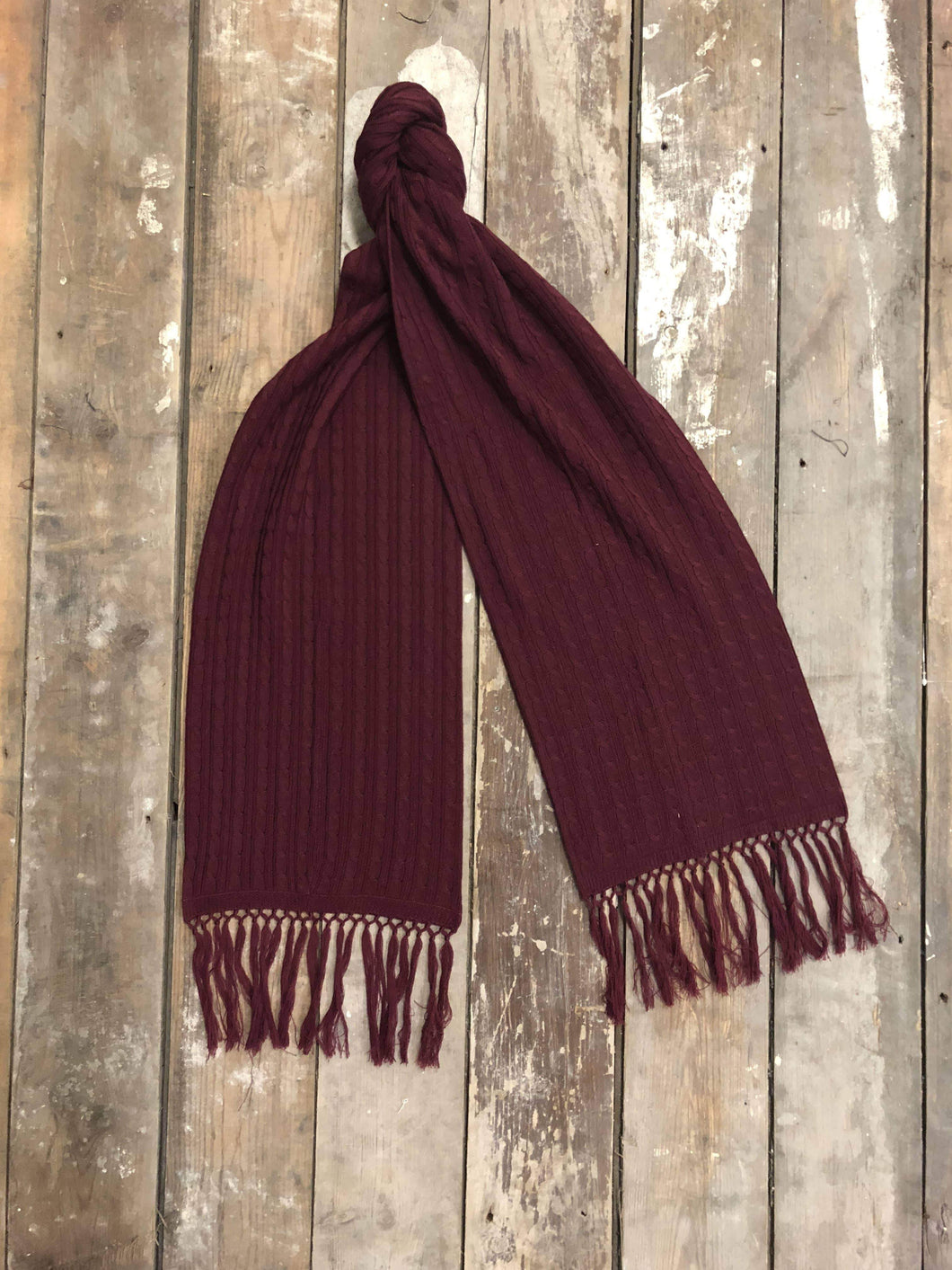 Burgundy Knitted Lambswool Scarf