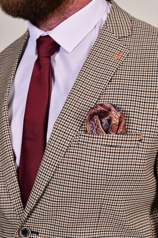 Burgundy Plain Tie & Paisley Pocket Square Burgundy