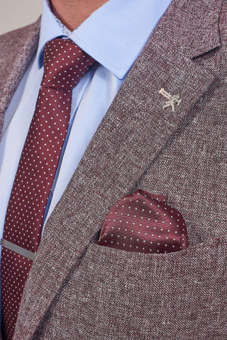 Cavani Burgundy Spotted Tie, Pocket Square & Tie Clip Set £12.99