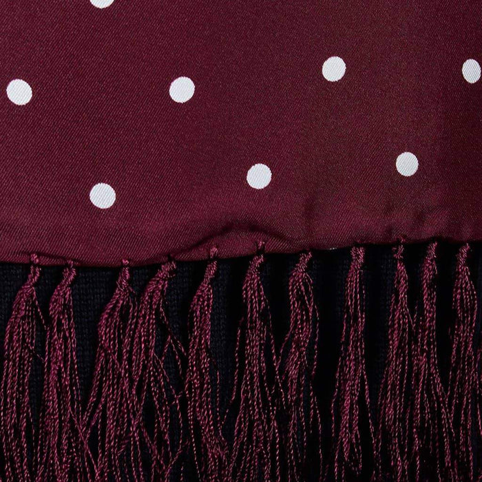 Burgundy/White Spotted Silk Aviator Scarf