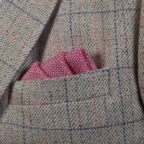 Candy Pink Knitted Silk Pocket Square