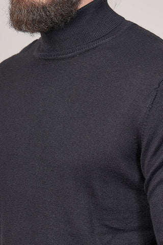 Casual Friday Black Roll Neck