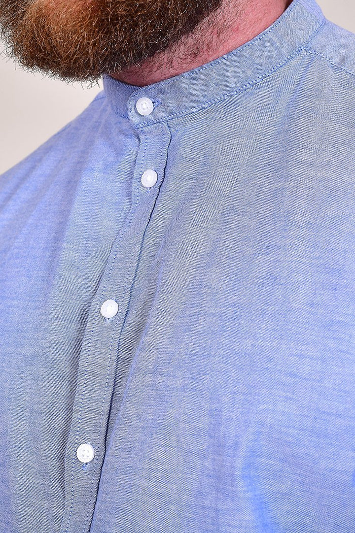 Casual Friday Cotton Sky Blue Grandad Shirt